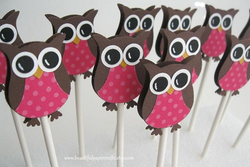 Pink Owl Cupcake Toppers