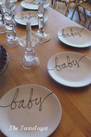 Plates with word BABY written
