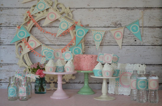 Shabby Chic Green Turquoise Pink Girly Polka Dot Vintage