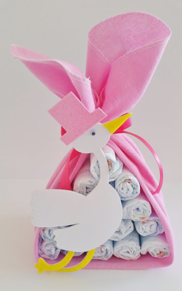 Stork Bundle Baby Shower Gift, Stork Baby Shower Center Piece, Girl Baby Shower Decor