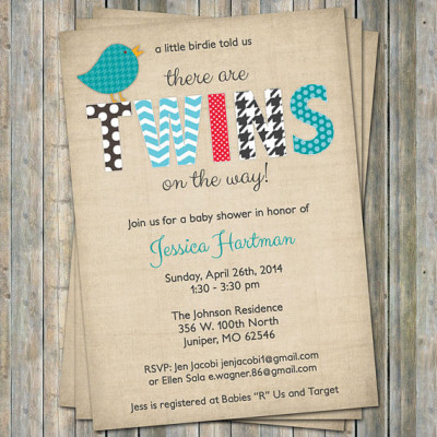 Twin Bird Baby shower Invitation, Little birdie