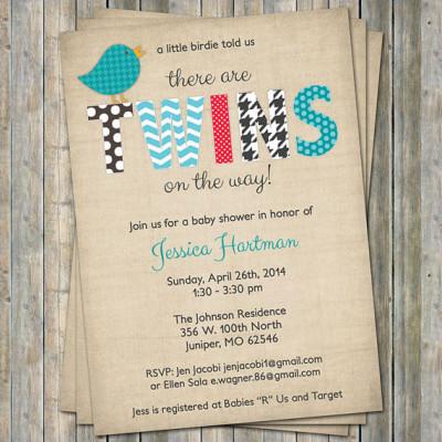 Twin Bird Baby shower Invitation, Little birdie