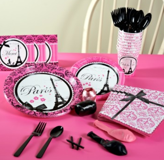 paris theme baby shower tableware