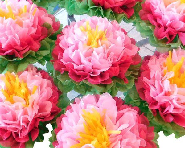 Pink paper flower centerpiece