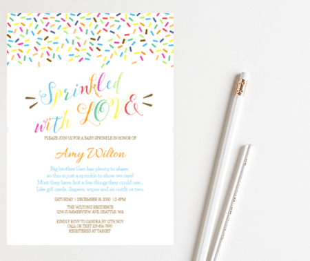 editable sprinkled with love baby shower invitation