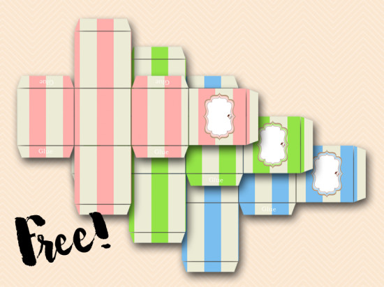 free printable baby shower favor boxes in pink and blue and green