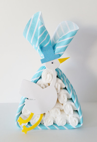 Stork Themed Baby Shower Diaper Cake
