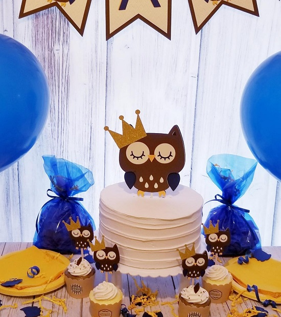 its a boy king owl baby shower set