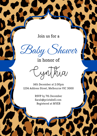Blue Safari Baby Shower Invitation Editable