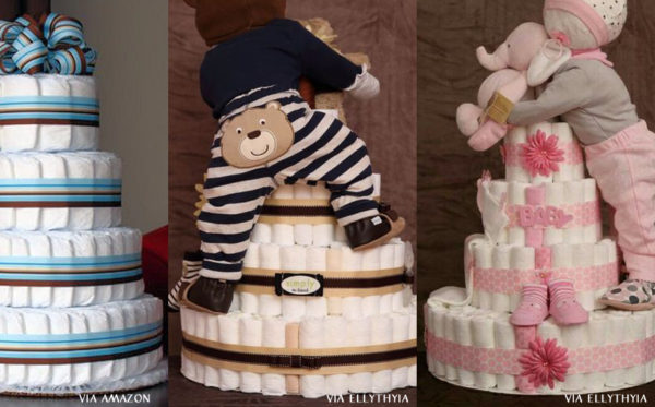 different types of diaper cakes centerpieces