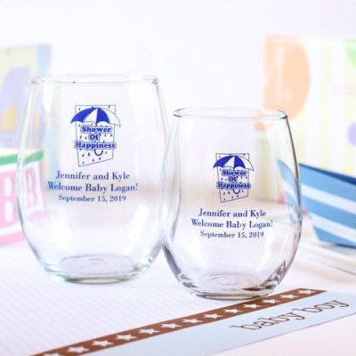 umbrella shower Baby Shower Stemless Wine Glasses