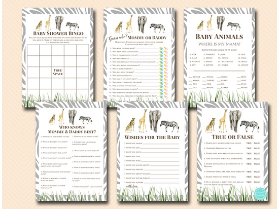wild african baby shower game package safari animals