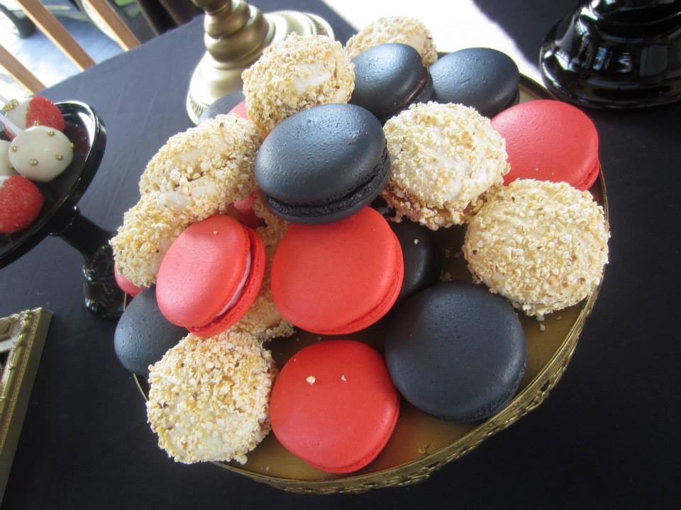 Black and Red and Gold Macarons