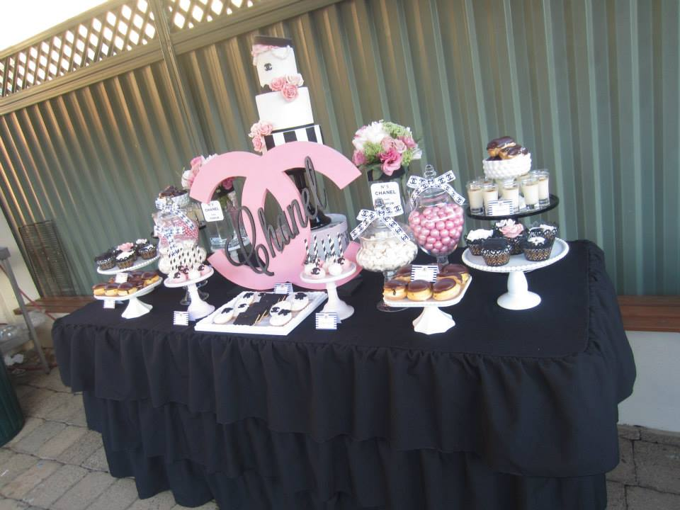 chanel sweet sixteen dessert table