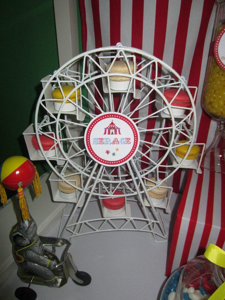 macarons served on a ferris wheel