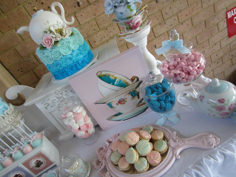Pink and Blue High Tea Party treats and decors