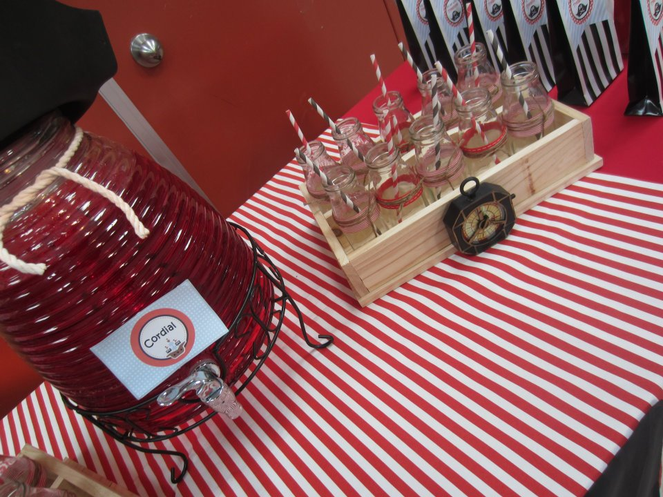 drinking station in red stripes