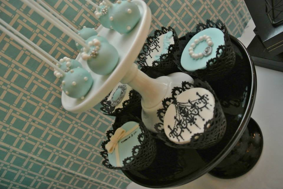 black damask chandelier cupcakes and pearls