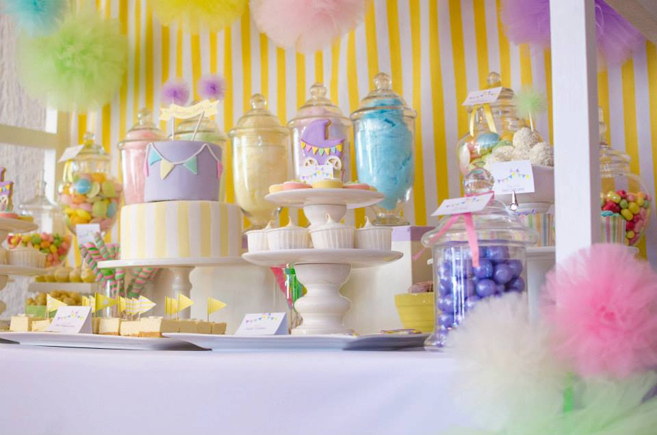 pastel baby shower party