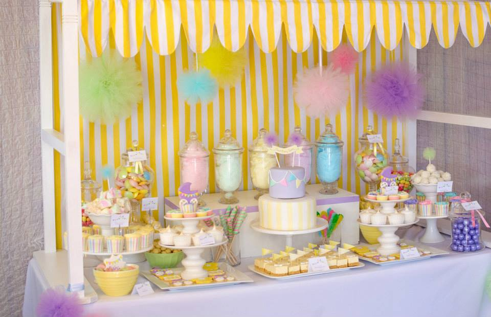tulle baby shower dessert table