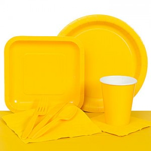 LEGO Baby Shower Theme Ideas yellow tableware