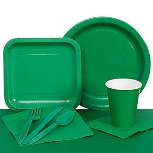LEGO Baby Shower Theme Ideas green tableware