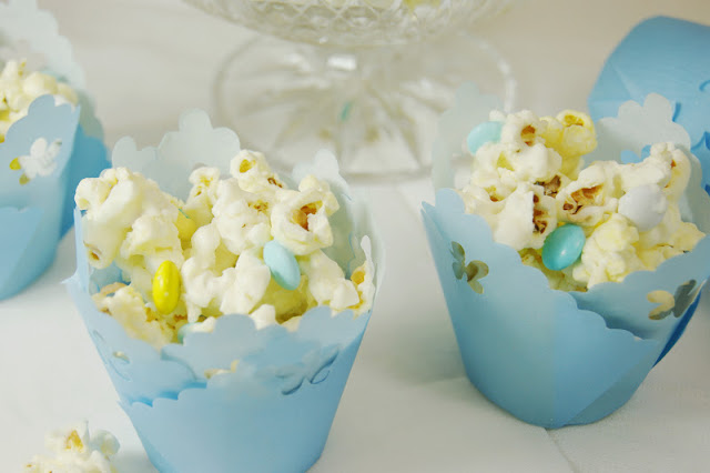 Speckled with blue and yellow M&Ms