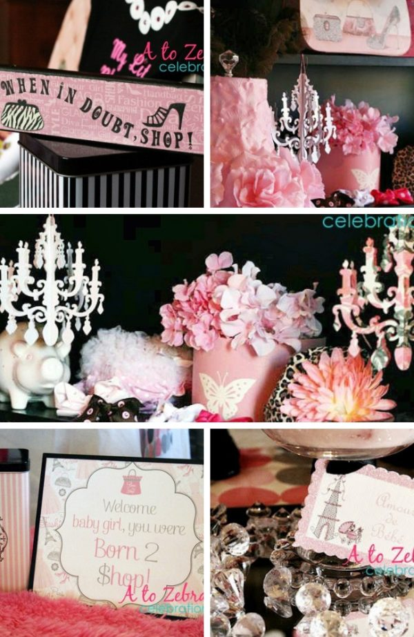 Born to Shop Girl Baby Shower theme
