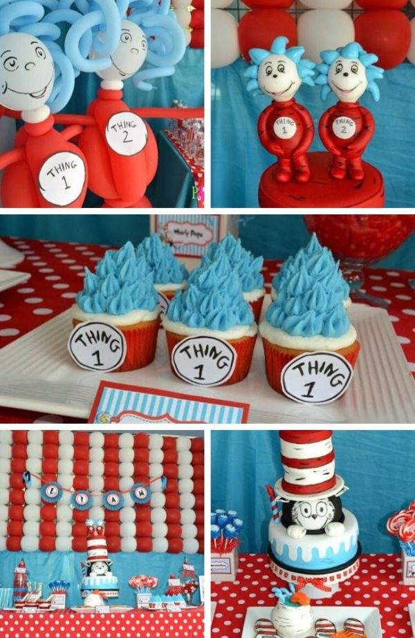 Dr Seuss Twin Baby Shower tablescape