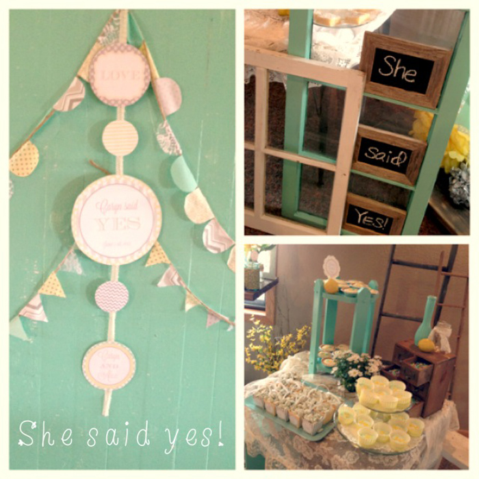 Vintage Bridal Shower with Mint, Yellow and Gray
