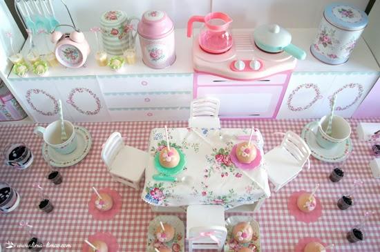 miniature tea party setup for cakepops