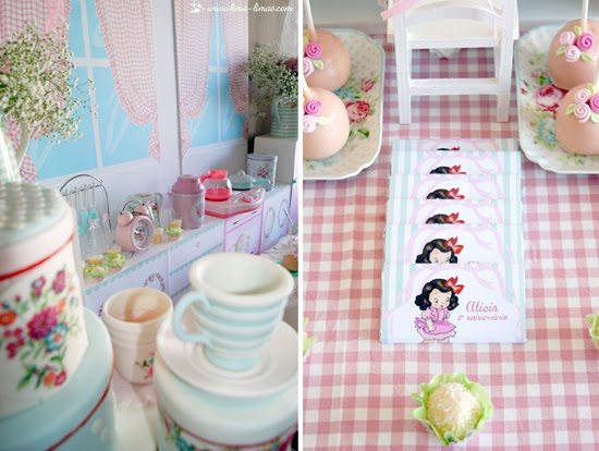 window as backdrop with laces, dollies and red checkered table