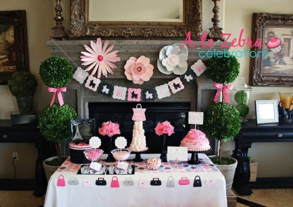 baby girl main tablescape - pink parisian