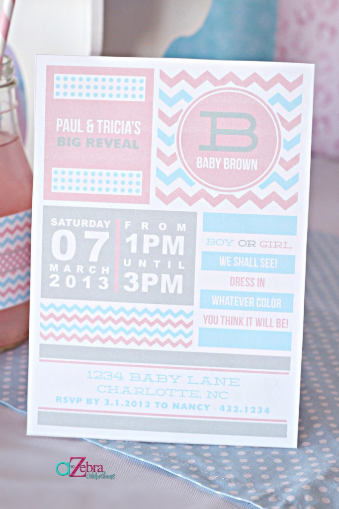Pink or Blue Baby Gender Reveal Party invitation