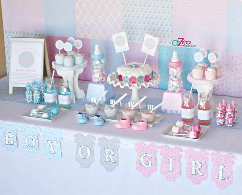 gender reveal baby shower party tablescape