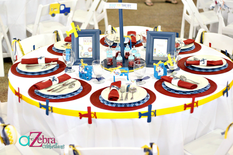 Go Baby Go Airplane Baby Shower guest table setup