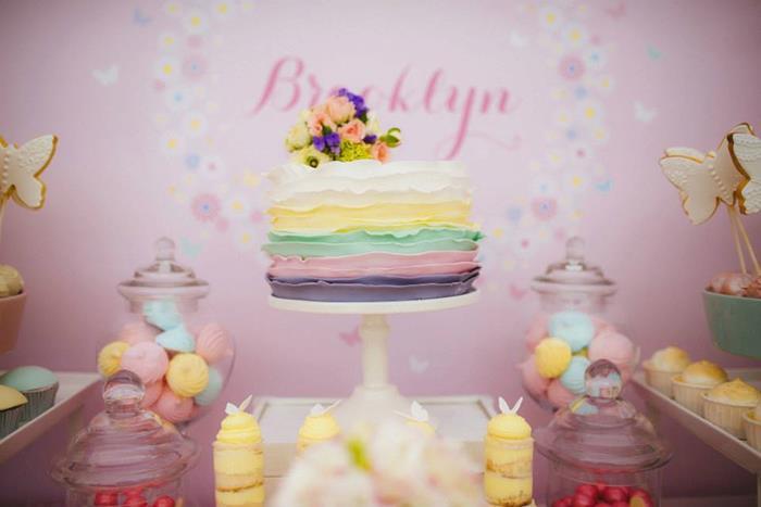 butterfly ruffle ombre cake
