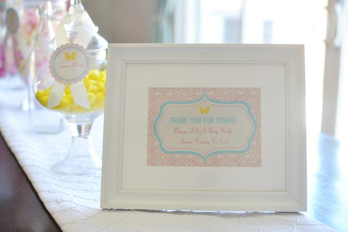 thank you for coming baby shower frame