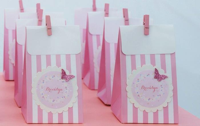 pink favor bags