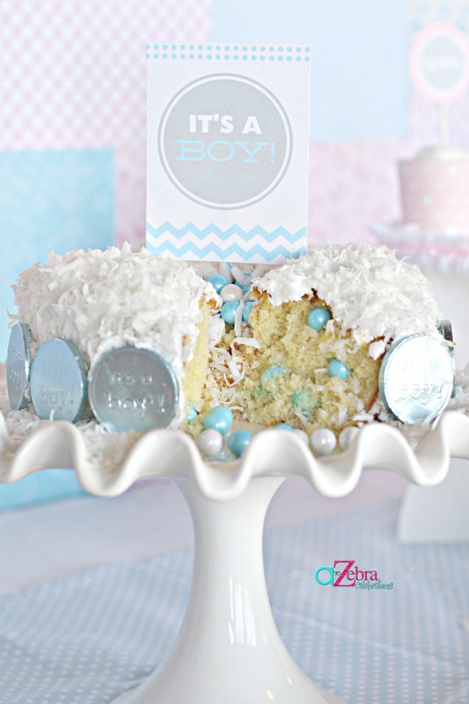 Pink or Blue Baby Gender Reveal Cake