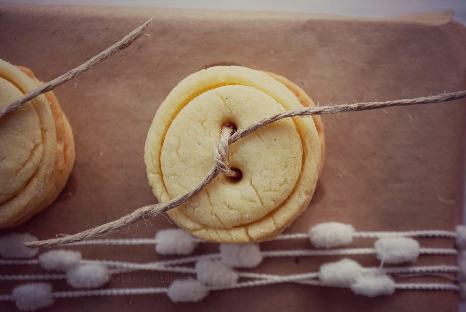 button cookie with burlap twine