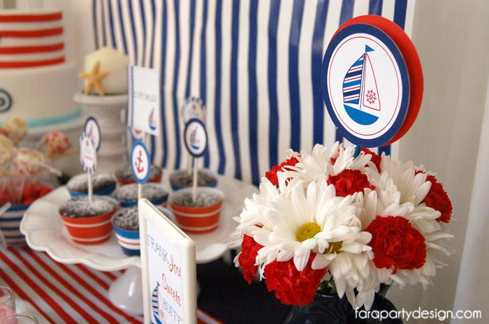 Red, white, nautical baby shower themed flowers