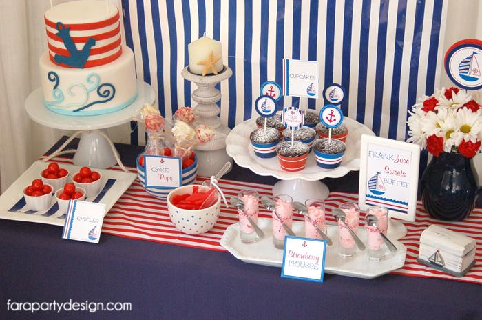 Red and Blue Nautical Theme Party dessert table