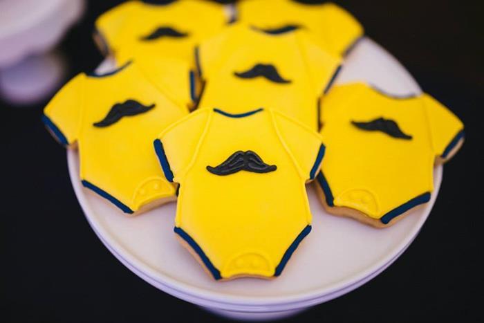 mustache onesies cookies