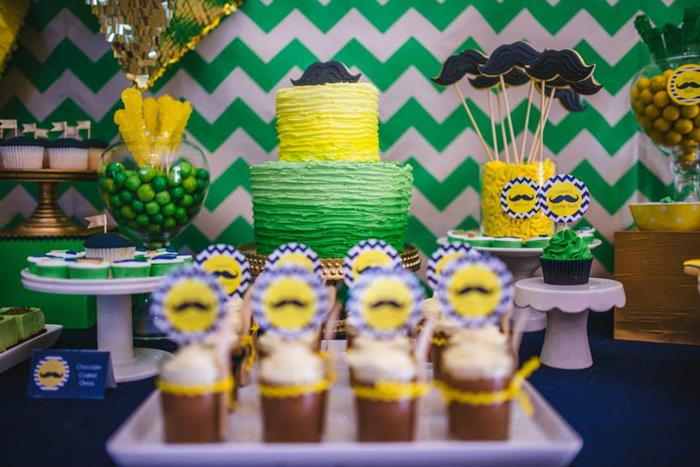 mustache baby shower dessert table