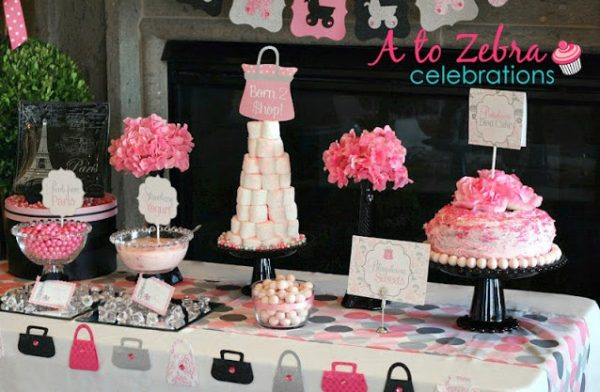 tablescape pink and black