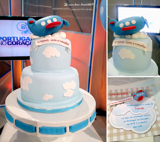 Sky is the limit Plane Baby Shower cake with clouds