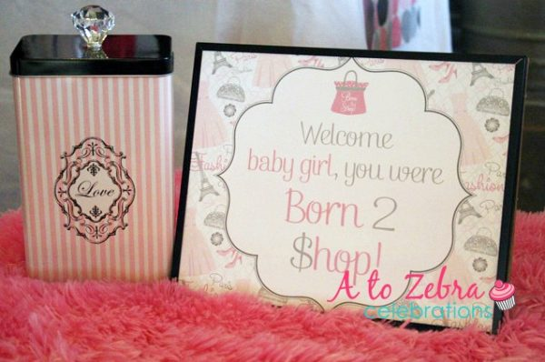 welcome baby girl you are born to shop sign