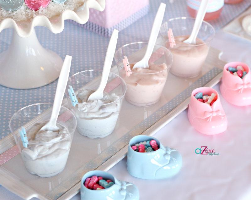 Pink or Blue Baby Gender Reveal yogurt dessert