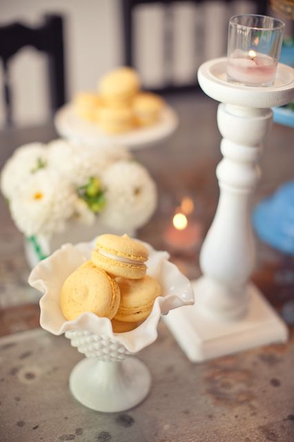 soft yellow macarons for a bow-tie baby shower theme